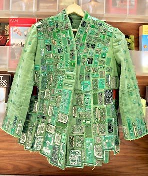 Green-power-coat-made-of-recycled-transistors-from-computer-memory-boards